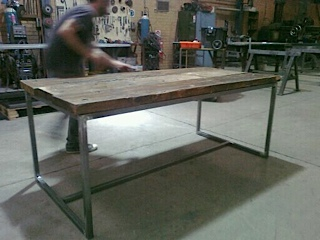 outdoor steel table fabrication